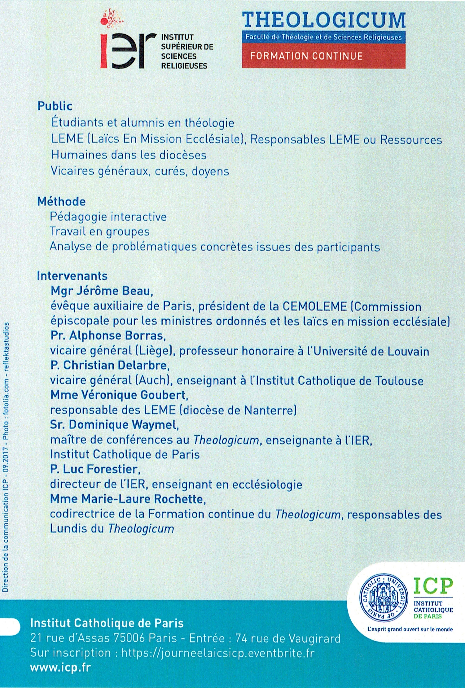 Formation ICP - Laics en responsabilité dans l'Eglise 2