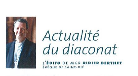 Monseigneur Didier Berthet - Editorial Actualité du diaconat dans Eglise dans les Vosges